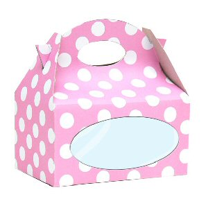 Pink box with white dots