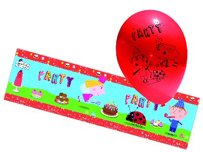 Ben and Holly Party foil banner and balloons